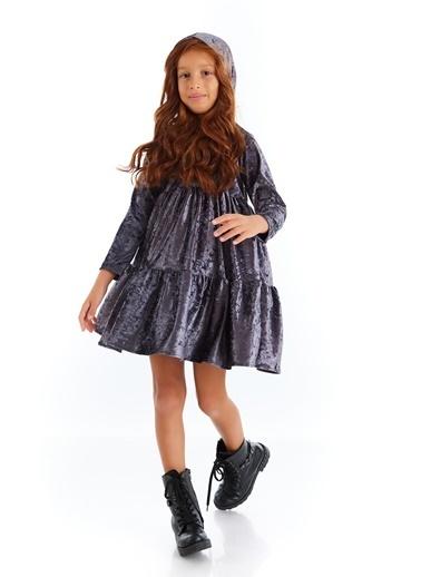 Colorinas Velvet Hoody Elbise Antrasit Antrasit